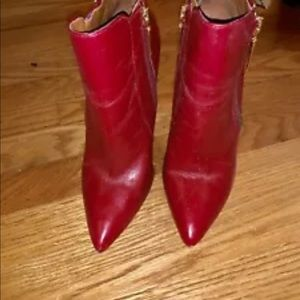 SCHUTZ Red Frost Leather Ankle Booties Gold Zipper